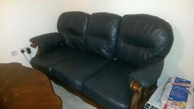 dark blue leather sofa (3+2) and coffee table
