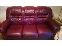 Leather 3 seater 2 seater sofa settee and pouffe