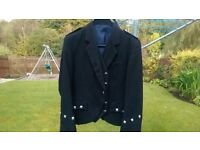 Black kilt jacket & waistcoat 38S