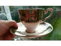 Tea set - 19 piece, green and gold