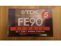 Pack of 5 TDK FE90 Tape Cassettes - New & Sealed