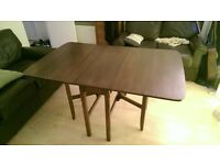 Brown Drop-Leaf Dining Table (Seats 6) - Excellent Condition