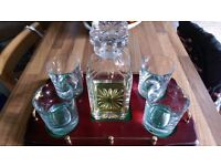 Decanter, glasses and tray. Burns Crystal