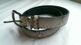 Belt from real snake leather