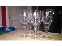 Beautiful Crystal sherry/port glasses set of 5