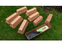 9 rectangular plant boxes, containers, troughs