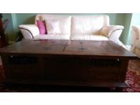 Solid Indonesian Wood carved Coffee Table with Storage facility