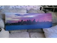 New York Purple Skyline Canvas Picture
