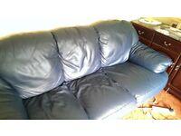 3 Seater Leather Blue Sofa