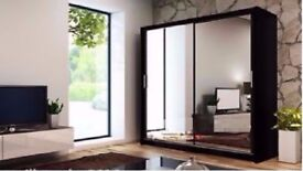 💪💪BRAND NEW 💪2 DOOR BERLIN SLIDING WARDROBE FULLY MIRROR WITH SHELVES AND HANGING RAILS💪💪
