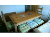 Solid wood dining table, benches and chairs for sale