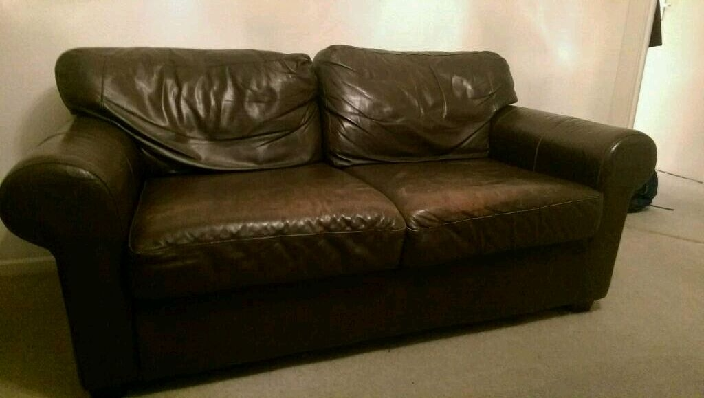 Comfy leather two seater sofa settee