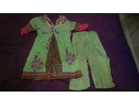 Girls Pakistani Childrens Kurta Shalwar Kameez Green and Pink Made to Measure approx age 18-24 month