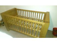 Kidsmill Nursery Furniture Kubis - Solid natural oak furniture, Cot bed, chest, wardrobe, wall shelf