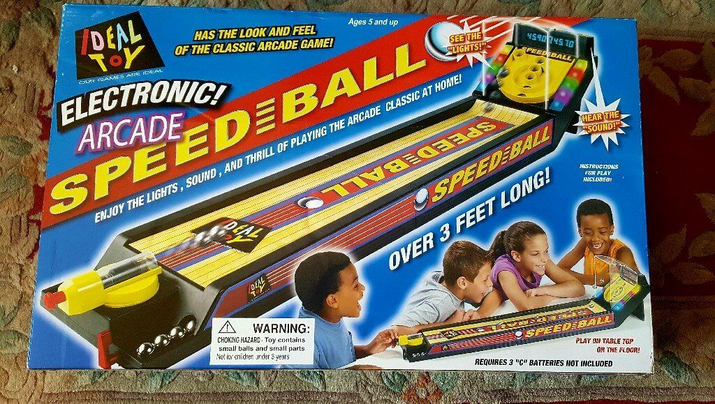 ELECTRONIC ARCADE SPEEDBALLKIDS GAME 5 YRSUPBRAND NEWin Sandwell, West MidlandsGumtree - ELECTRONIC ARCADE SPEEDBALL KIDS GAME BRAND NEW IN BOX AGES 5 AND UP INSTRUCTIONS INCLUDED FOR PLAY & ASSEMBLY 8 SCORING BALLS, HIGH SCORE FLASHING LIGHTS & SOUND OVER 3 FEET LONG AUTOMATIC ELECTRONIC SCORING REQUIRES X3 C BATTERIES NOT INCLUDED 1 4...