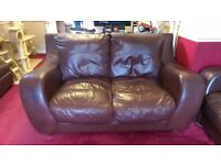 Brown Leather 3 Seater and 2 Seater Sofas - well used, but perfect for temporary use!