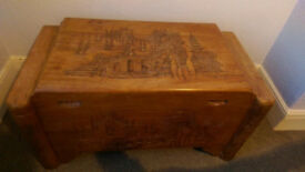 Oriental carved wooden Chest / Trunk