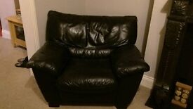 Black leather 3 seater sofa and single chair for sale. Pick up only.