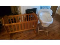 Rocking crib and moses basket with stand.