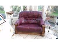 Classic Leather two seater settees x 2
