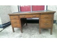 Quality, sturdy wooden writing desk with leather inlay
