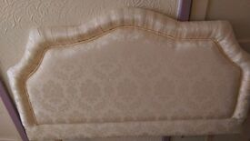 Cream Damask Small Double Bed Headboard