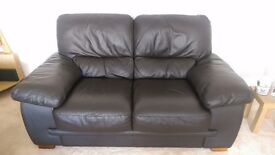 Dark brown leather sofa, 2 & 3 seater