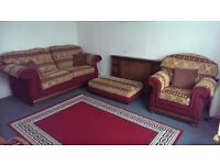 For Sale-- Sofa Suite (4 pieces+4 Cushions): 3 Seater+3 Seater+1 Armchair+4 Cushions+1 Footstool