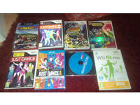 WII bundle - console, 8 games, wii fit board & steering wheel + other accessories