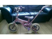 Girls bike with removable parent handle