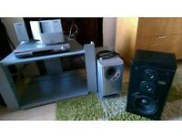 TV shelving unit + Home theater sound system (sold together or separately)