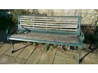 Iron and hardwood vintage garden seat bench