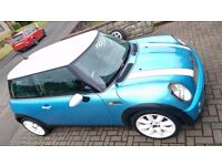 "Mini Cooper 1.6 in blue with white 17"" alloys for sale,"