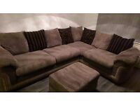 Brown fabric corner couch