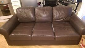 Brown leather 3 piece sofa
