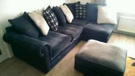 Black Corner Sofa, Armchair and Stool
