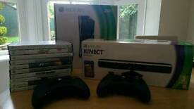 Xbox 360 250gb Gloss Black, Kinect, Controller, Games
