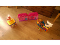 Tub of Lego/Duplo Blocks, 1 Pink Plastic House and Pirate Ship Mega Bloks