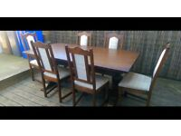 Solid Oak Wood Bros. 6FT Tudor Buckingham Dining Table 6 Chairs
