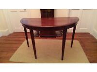 Vintage half moon solid wood table
