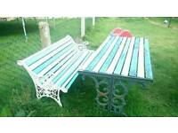 Cast iron bench and table
