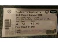 England v Australia ODI cricket ticket