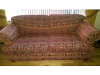 3 seater sofa suite red very good condition