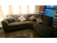1 year old excellant condition corner grey sofa & footstool