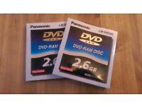 NEW 2 x Panasonic 2.6GB LM-DB26E DVD-RAM Rewritable Discs