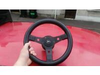 Corsa B 12inch sports Steering Wheel and Boss Rally style Mod