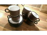 Hornsea Pottery 6 retro 1976 cups and saucers