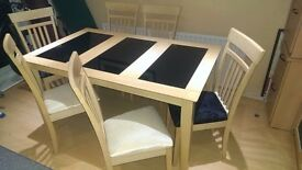 6 SEATER DINING TABLE AND 6 CHAIRS...MATCHING SIDEBOARD FOR SALE SEPARATLY,RING ME IF YOU WANT BOTH