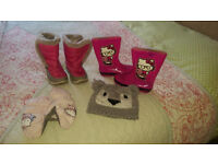 Girls Pink Hello Kitty Wellies size 10 + Mountain Warehouse Pink Boots size 12 , + hat and glooves