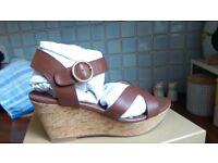 Matt Bernson Kuba Cork Wedge leather sandal UK 7, US 9 summer holiday casual